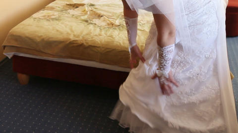 Bride Corrects Dress stock footage