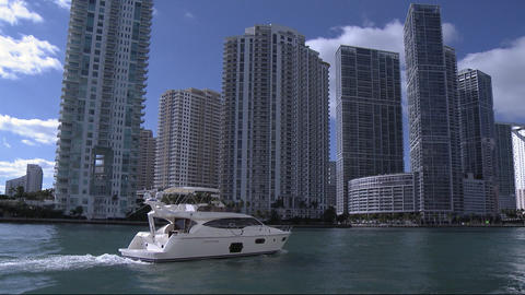 Boat In Downtown Miami stock footage