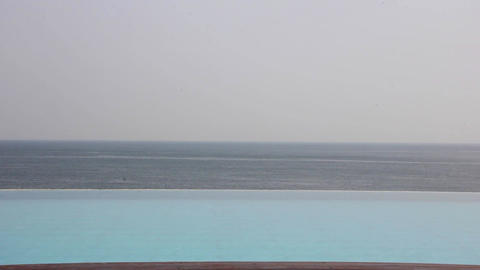 Swimming Pools on the ocean beach Footage