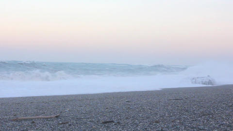 Strong wind and big waves with sunset background Footage