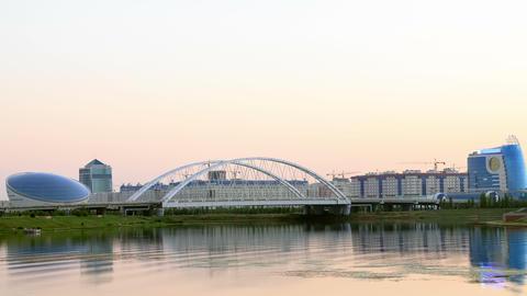 Sunset view of Arys bridge. Zoom. Astana, Kazakhst Footage