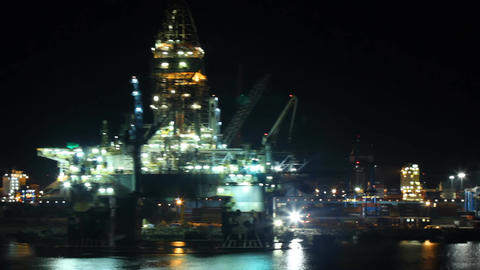 Oil Platform In Port At Night stock footage