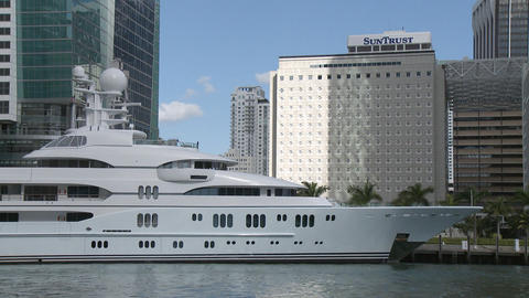Mega Yacht In Miami stock footage