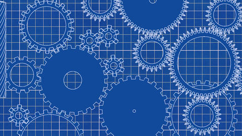 Gear cogs rotating system gearbox blueprint grid m Animation
