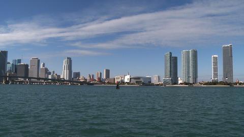 Miami Skyline On A Sunny Morning stock footage