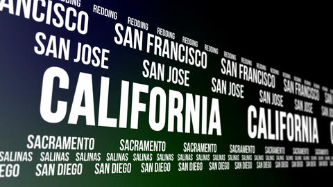California State and Major Cities Scrolling Banner CG動画