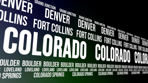 Colorado State and Major Cities Scrolling Banner Animation