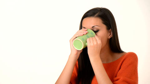 Women Drink Hot Coffe stock footage