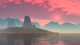 Red sunset over a mountain lake Animation