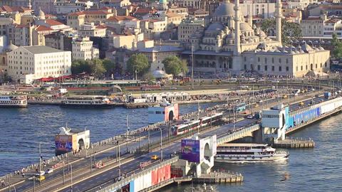Aerial view of the Galata Bridge, Istanbul, Turkey Footage