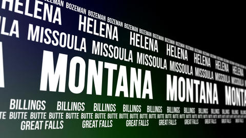 Montana State and Major Cities Scrolling Banner Animation