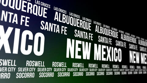 New Mexico State and Major Cities Scrolling Banner CG動画
