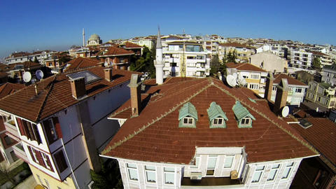 Flying Over Luxury Istanbul Houses On A Sunny Day stock footage