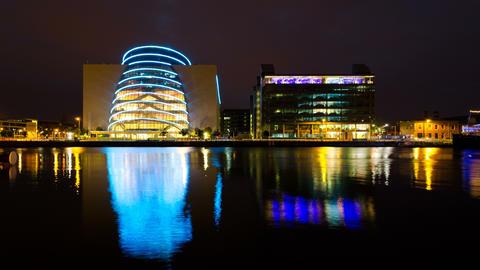 4K. Modern Office Buildings reflected in water. Dublin, Ireland Footage