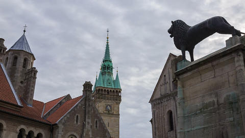 Braunschweig Old Buildings And Lion Statue Near Do stock footage