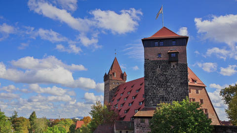 Nuremberg Castle with blue sky and trees timelapse Footage