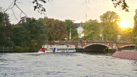 Vintage ferry with people on the german river in B Footage