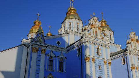 4K Saint Michael's golden-domed cathedral hyperlap Footage
