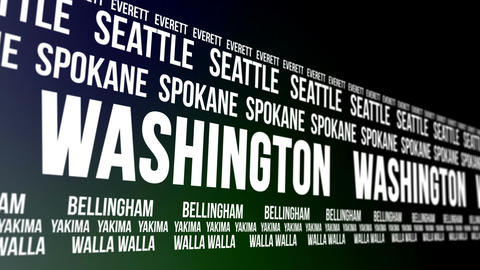 Washington State and Major Cities Scrolling Banner Animation