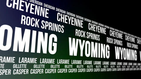 Wyoming State and Major Cities Scrolling Banner Animation