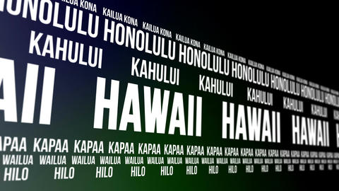 Hawaii State and Major Cities Scrolling Banner Animation