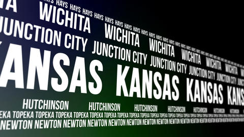 Kansas State and Major Cities Scrolling Banner Animation