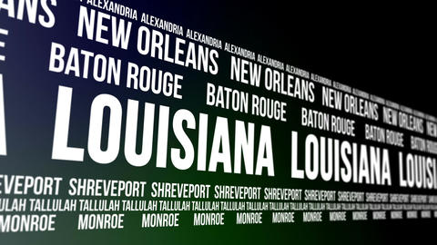 Louisiana State and Major Cities Scrolling Banner Animation