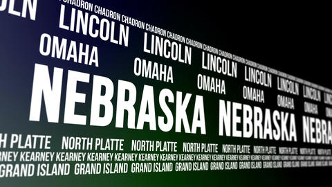 Nebraska State and Major Cities Scrolling Banner CG動画