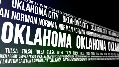 Oklahoma State and Major Cities Scrolling Banner Animation