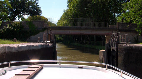 boat passes through the floodgate Stock Video Footage