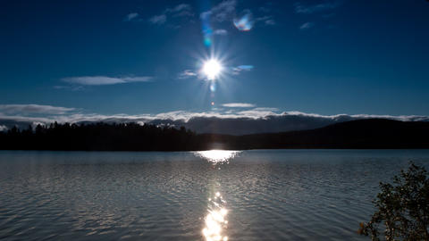 clouds and sun over the lake, timelapse Footage