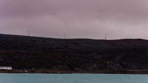 wind generator on the mountain through the clouds, timelapse Stock Video Footage