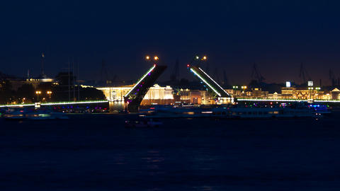 "Drawbridge ""Palace Bridge"" in white night Footage"