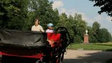 Driving Off Horse Carriage. stock footage