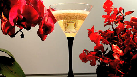 wineglass and Orchids Stock Video Footage