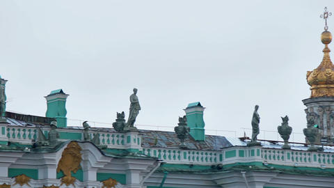Decorating the roof of the Winter Palace, part 1 Stock Video Footage