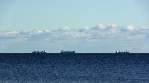 cargo ships at anchor Stock Video Footage