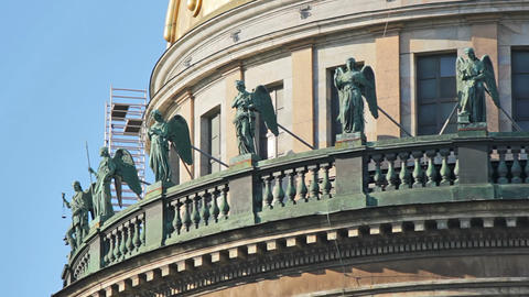 Sculptures on the upper balcony Stock Video Footage