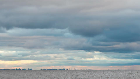 clouds over the city, timelapse Stock Video Footage