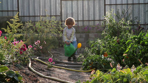 Boy and a watering can Stock Video Footage