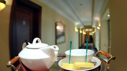 Teapot and cup Stock Video Footage