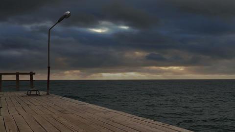 Pier, lantern, bench Stock Video Footage