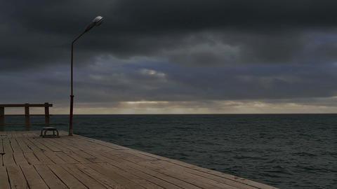 Pier, Lantern, Bench stock footage
