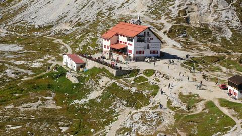11557 Tourist Traffic Refuge Locatelli Dolomite Al stock footage
