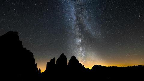 Tre Cime De Lavaredo Milky Way Wide Static 11558 stock footage