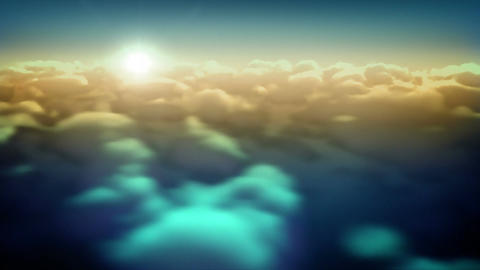 sunset Flying Over Clouds Animation