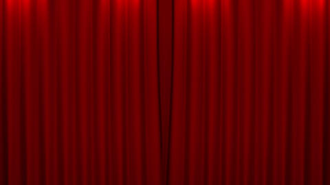 red curtain with green screen opening scene Stock Video Footage