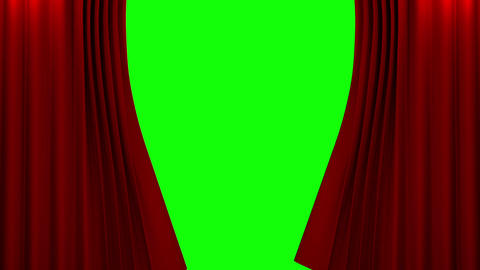 Red Curtain With Green Screen Opening Scene stock footage