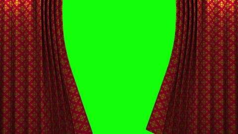 red and gold pattern curtain with green screen ope Animation