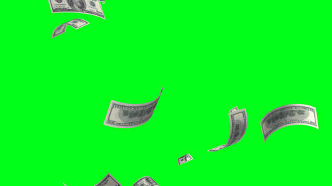4k.Flying banknotes of dollars. Isolated over gree Animation